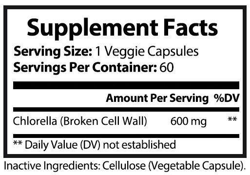 private label chlorella nutrition panel