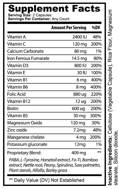 private label hair skin and nail vitamin supplement nutrition panel