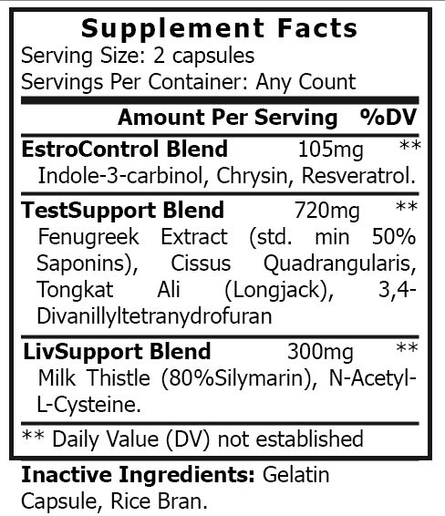 private label natural post cycle therapy vitamin supplement nutrition panel