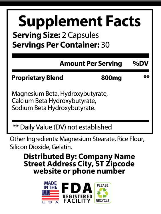 private label keto bhb salt weight loss supplement