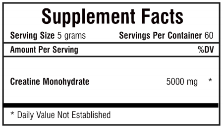 private label creatine sports nutrition supplement nutrition panel
