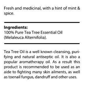private label tea tree oil nutrition panel