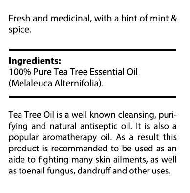 private label tea tree oil nutrition panel