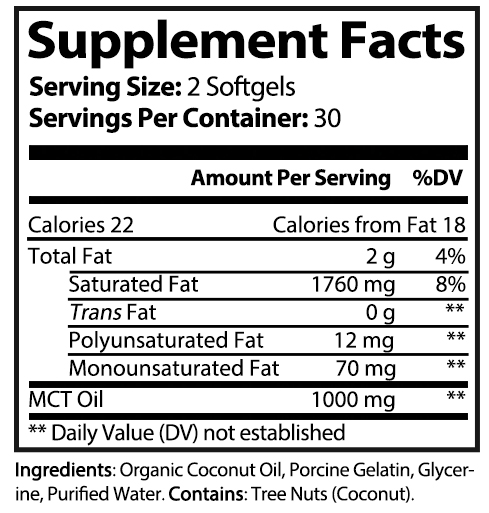 private label mct oil softgels nutrition panels