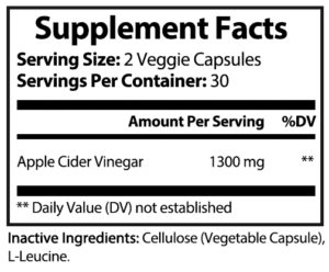 private label apple cider vinegar vitamin supplement nutrition panel