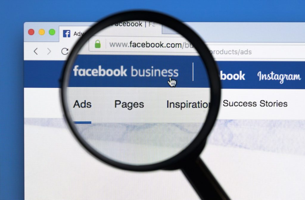 facebook business page magnifying glass