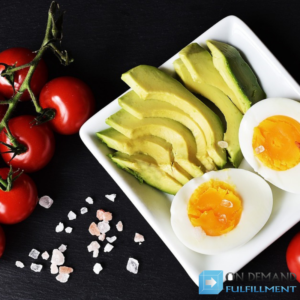keto diet meal avocados, eggs and tomatoes