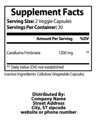 private label caralluma nutrition panel