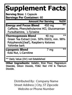 private label oxy burn nutrition panel
