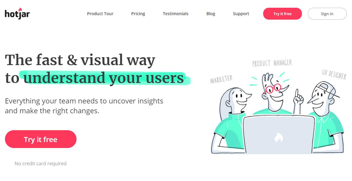 hot jar home page screen shot