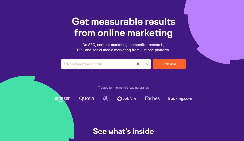 semrush home page