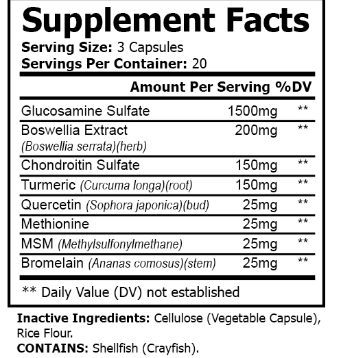 private label joint support vitamin nutrition panel