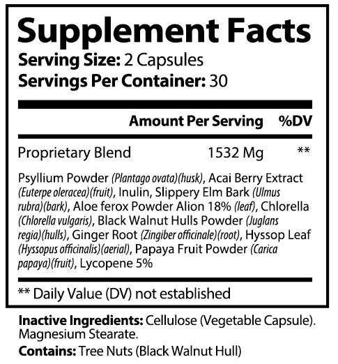 private label acai detox nutrition panel