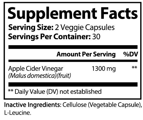 private label apple cider vinegar nutrition panel