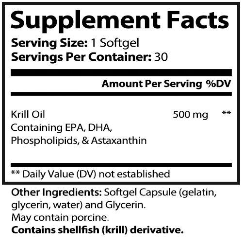 private label krill oil Nutrition Panel