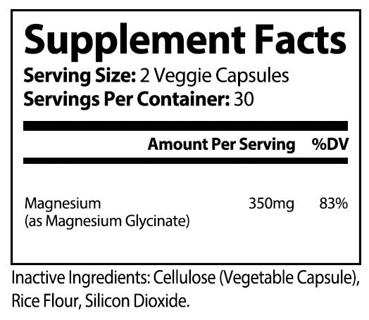 private label magnesium Glycinate vitamin supplement nutrition panel