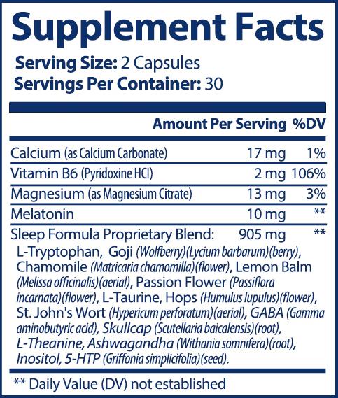 private label melatonin plus sleep formula nutrition panel