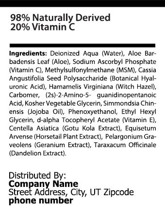 private label vitamin c serum nutrition panel